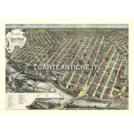 Veduta antica USA: Minneapolis 1891.