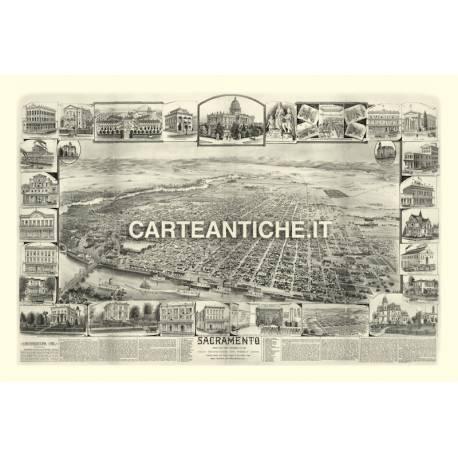 Veduta antica USA: Sacramento 1890.