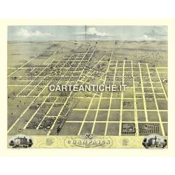 Veduta antica USA: Champaign 1869.