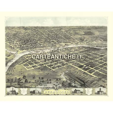 Veduta antica USA: Desmoines 1868.