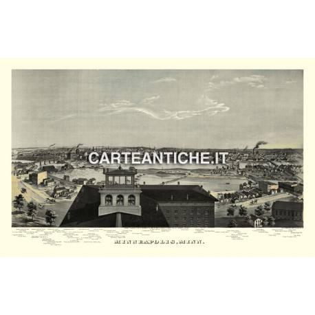 Veduta antica USA: Minneapolis 1874.