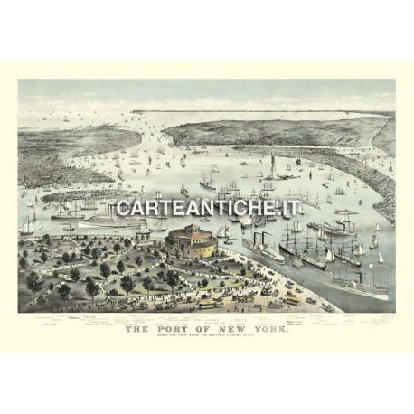 Veduta antica USA: porto di New York City 1892.