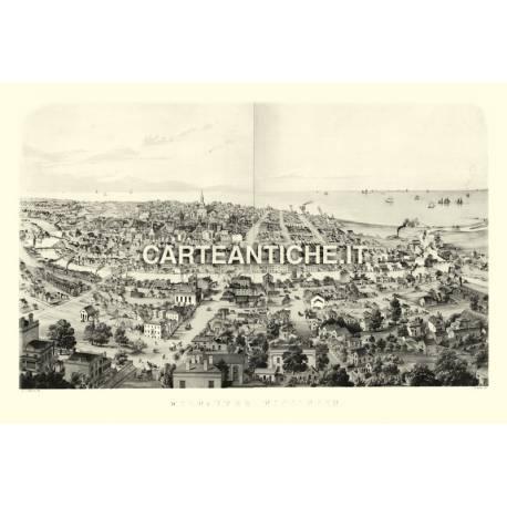 Veduta antica USA: Milwaukee 1854.