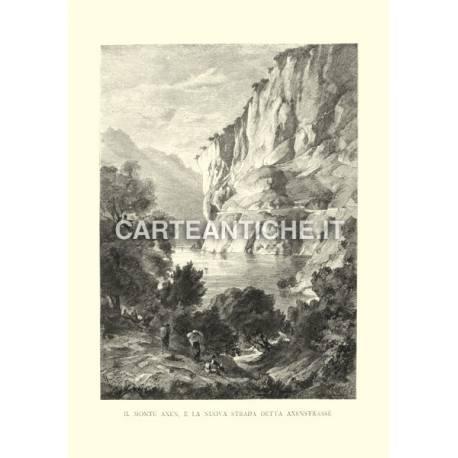 Veduta antica Svizzera: Monte Axen e Axenstrasse