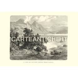 Veduta antica Svizzera: Il lago dei 4 cantoni presso Waeggis.