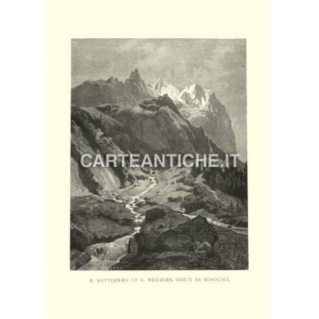 Veduta Svizzera: Wetterhorn e Wellhorn da Rosenlaui.