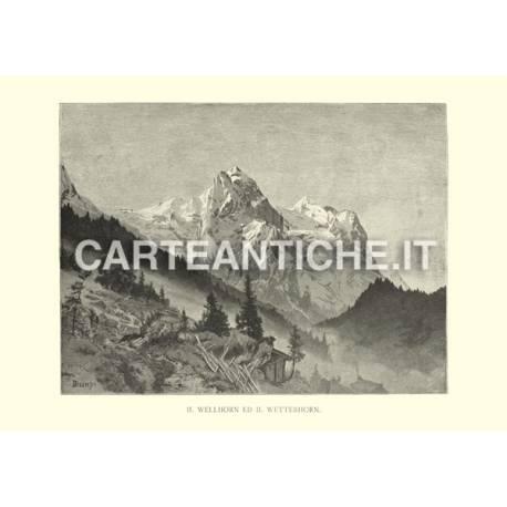 Veduta antica Svizzera: Wellhorn e Wetterhorn.