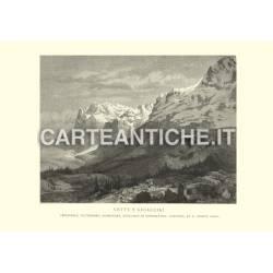 Veduta antica Svizzera: Vette e Ghiacciai