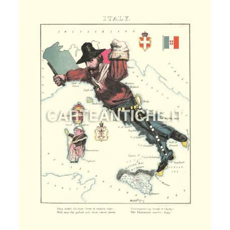 Carta antica dell'Italia disegnata con Garibaldi