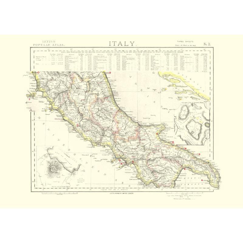 Cartina Italia Centrale E Meridionale.Mappa Italia Centrale Nel 1883