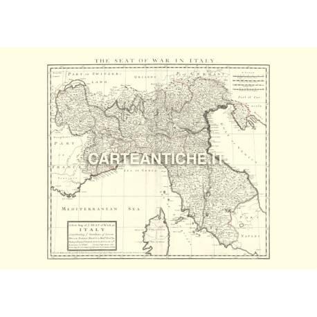 Mappa Italia del nord 1701