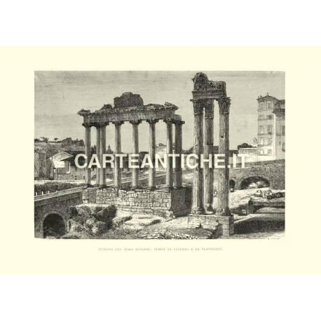 Foro Romano: tempii di Saturno e Vespasiano.