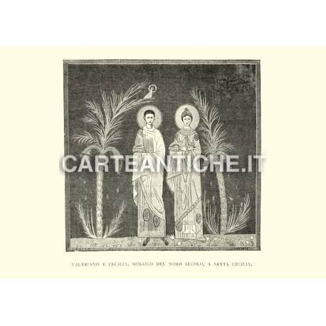 Valeriano e Cecilia - Mosaico del nono secolo a Santa Cecilia