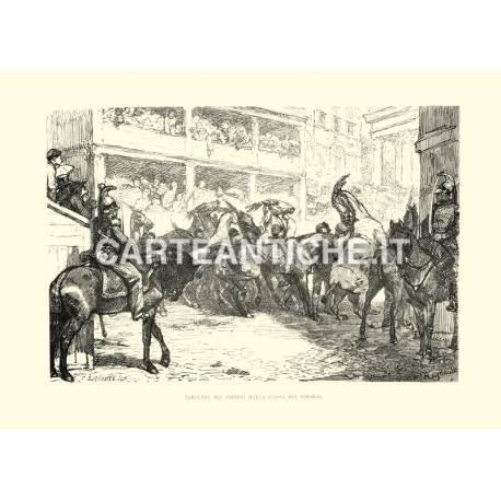 Partenza dei Barberi dalla piazza del Popolo.