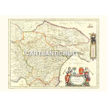 Cartina Geografica Regione Basilicata.Carta Geografica Antica Della Regione Basilicata 02