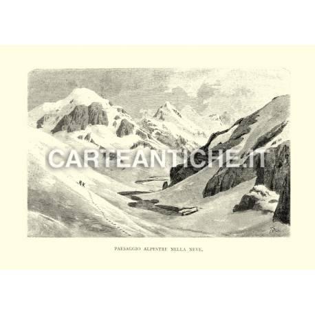 Paesaggio alpestre nella neve