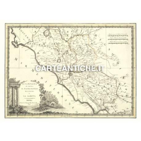 Cartina Geografica Antica.Carta Geografica Antica Della Regione Lazio 01
