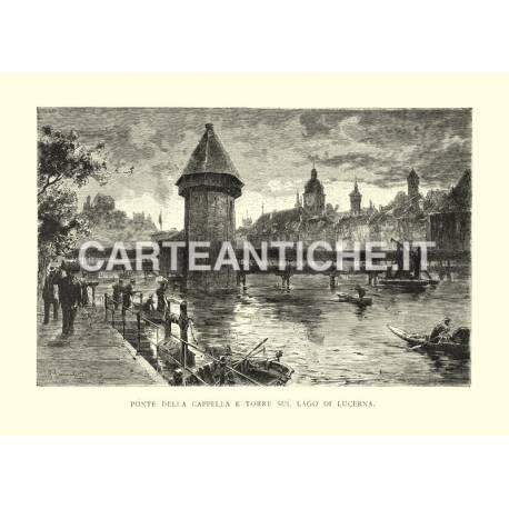 Ponte della Cappella e torre sul lago di Lucerna