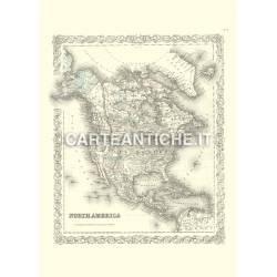 Carta geografica del Nord America e USA (1855)