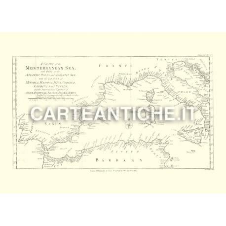 Mappa politica del Mar Mediterraneo (1781)