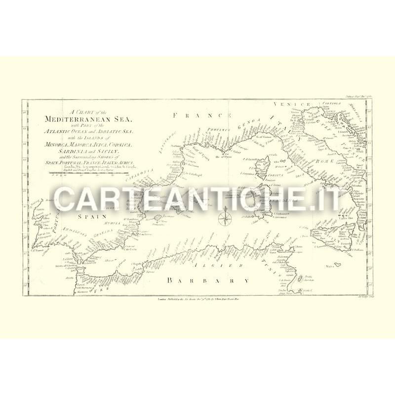 Cartina Politica Del Mediterraneo.Mappa Politica Del Mar Mediterraneo 1781