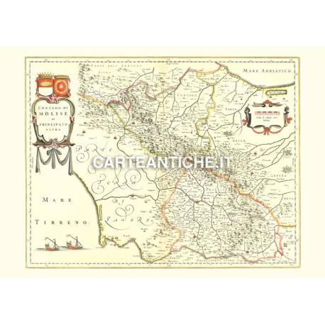 Cartina Del Molise Geografica.Carta Geografica Antica Della Regione Molise 01
