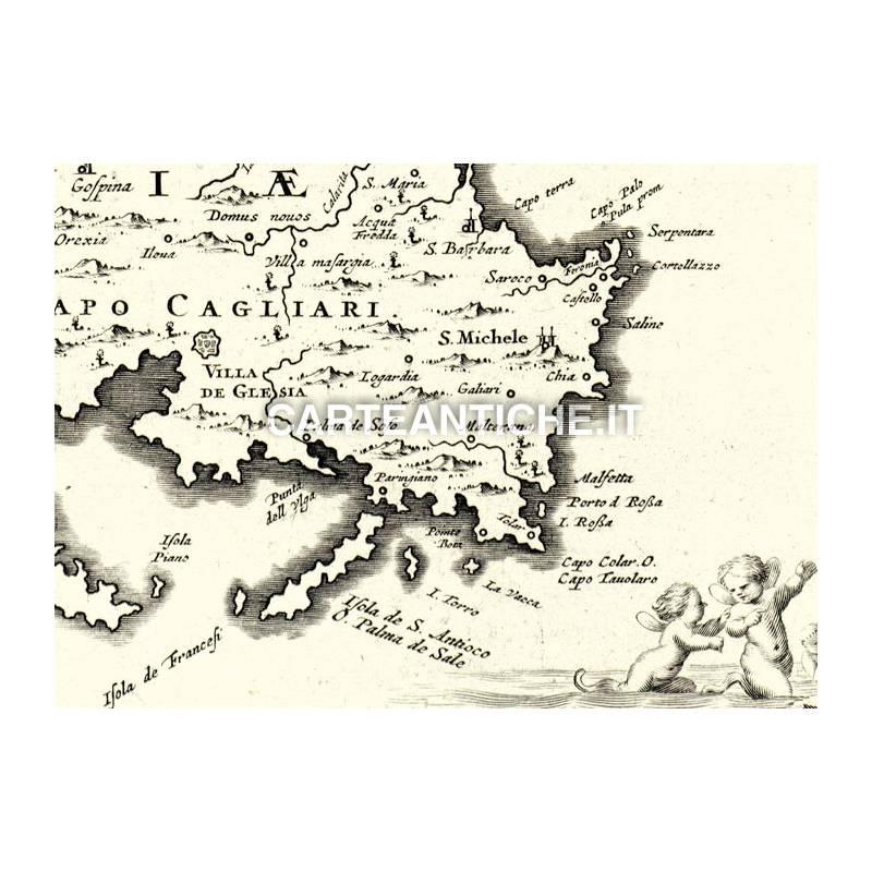 Cartina Antica Sardegna.Carta Geografica Antica Della Regione Sardegna 01