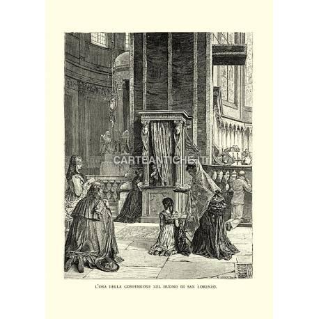 L'ora della confessione nel Duomo di San Lorenzo.