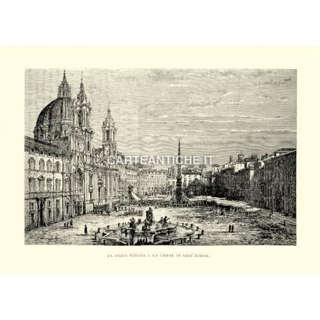 Piazza Navona e la chiesa di Sant'Agnese.