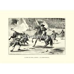 Il circo dei tori a Madrid, un combattimento.