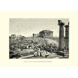 Veduta antica dei monumenti dell'Acropoli