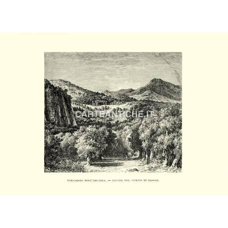 Paesaggio dell'Arcadia. Rovine del tempio di Bassae.