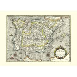 Spagna: carta geografica antica del 1633.