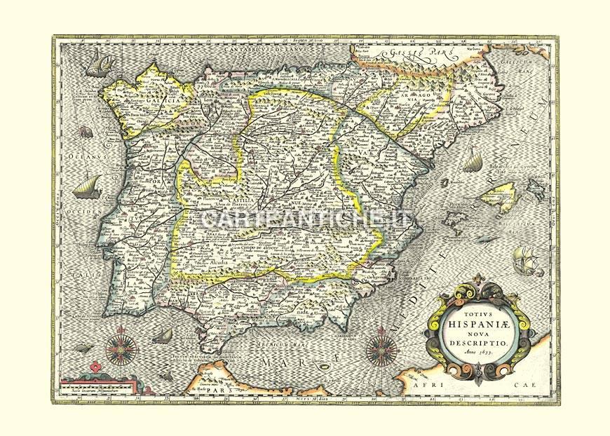Cartina Geografica Antica.Spagna Carta Geografica Antica Del 1633