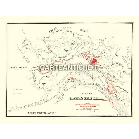 Carta antica: America nord 01 - Giacimenti d'oro - Lee 1897