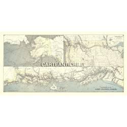 Carta antica: America nord 03 - Linee ferroviarie, traghetti Alaska - 1891