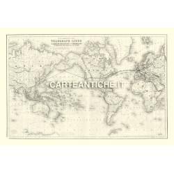 Carta antica: Linee telegrafo 01 - Colton 1855
