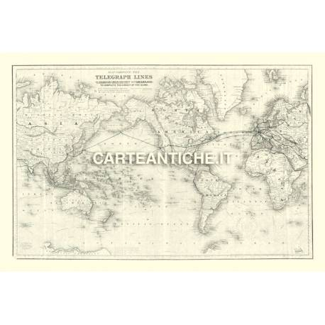 Carta antica: Linee telegrafo 01 - Colton 1855