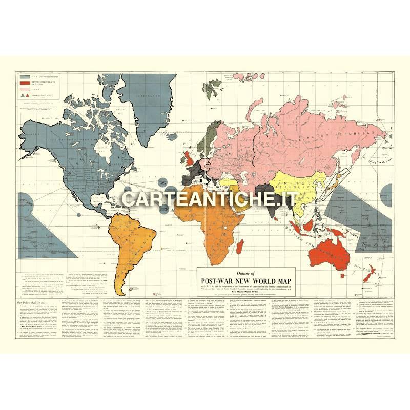 Cartina Mondo Ingrandita.Mappa Del Mondo Dopo Guerra 08 Gomberg 1942