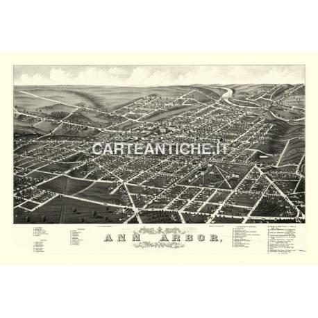 Veduta antica: USA 03 - Ann Arbor, Michigan - A. Ruger 1880