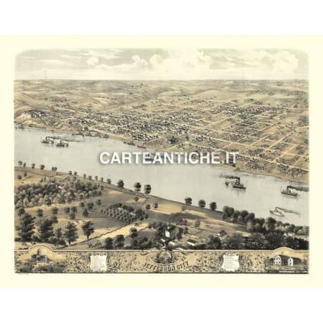Veduta antica: USA 10 - Jefferson City, Missouri - A. Ruger 1869