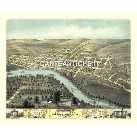 Veduta antica: USA 13 - Mankato, Minnesota - A. Ruger 1870