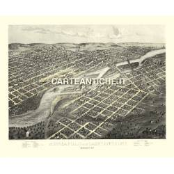 Veduta antica: USA 15 - Minneapolis, Minnesota - A. Ruger 1867