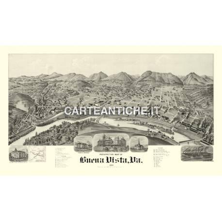 Veduta antica: USA - Buena Vista, Virginia - Amer 1891