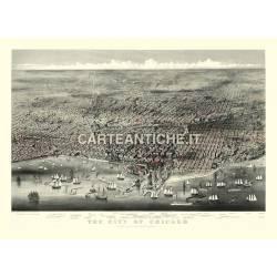 Veduta antica: USA - Chicago 1874.