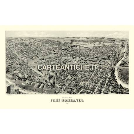 Veduta antica USA: Forth Worth, Texas 1891.