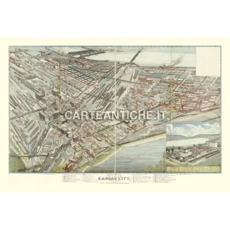 Veduta antica USA: Kansas City 1895.