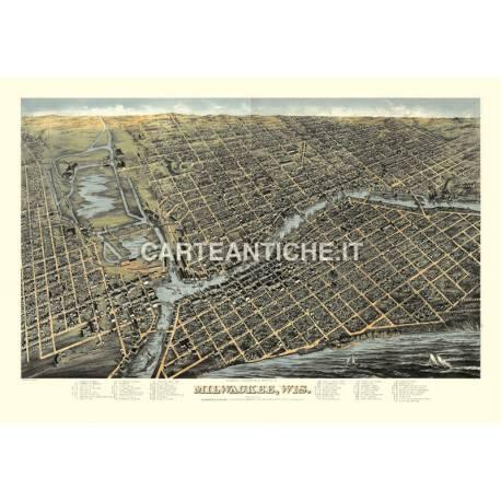 Veduta antica USA: Milwaukee 1872.