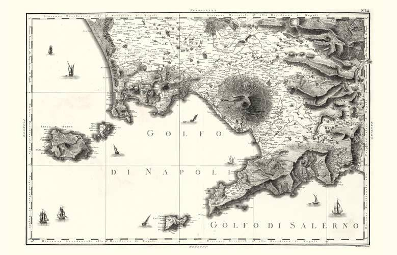 Carta geografica antica della regione Campania.